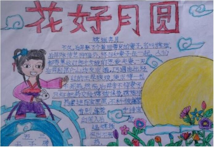 中秋节手抄报图片,中秋节快乐,好好月圆人团团,家家户户庆团圆.