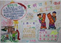 文明过春节快乐享民俗手抄报模板_春节手抄报图片