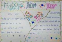 小学生英文新年快乐手抄报模板简单_春节手抄报图片