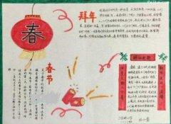 小学生春节拜年的手抄报模板简单_春节快乐小报图片