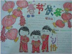 庆祝春节快乐的手抄报模板简单_春节小报图片
