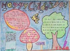 儿童节英语手抄报简笔画怎么画一等奖五年级
