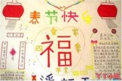 一年级春节快乐福字手抄报怎么画简单好看小学生
