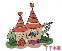 怎么画橘子小屋简笔画教程简单又漂亮涂色