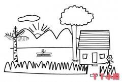 怎么画山水小屋简笔画的画法简单教程