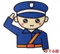 军人敬礼的画法涂颜色 解放军简笔画图片