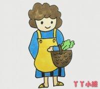 买菜的妈妈怎么画简单又漂亮带步骤图