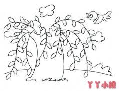 柳树怎么画简单又漂亮 柳树的简笔画图片