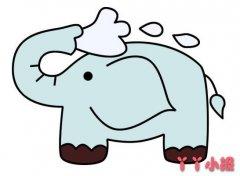 卡通大象洗澡怎么画涂色简单又好看