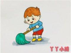 小男孩拖地板怎么画涂色 劳动节简笔画图片
