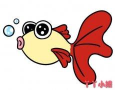 吐泡泡金鱼怎么画彩色带步骤图简单好看