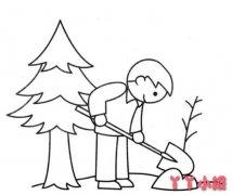 劳动节植树怎么画 劳动节简笔画图片