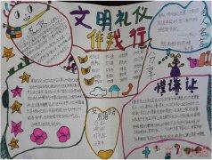 四年级文明礼仪伴我行手抄报简笔画简单漂亮
