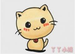 可爱小猫的画法步骤涂色 小猫咪简笔画图片