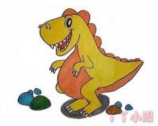 卡通恐龙怎么画带步骤涂颜色 恐龙简笔画图片