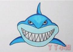 巨齿鲨鱼的画法步骤涂颜色 鲨鱼简笔画图片