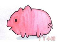可爱小猪的画法步骤涂色 小猪简笔画图片