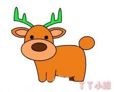 圣诞驯鹿的画法步骤涂色 驯鹿简笔画图片
