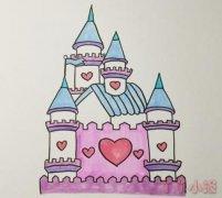 城堡怎么画涂颜色 城堡简笔画图片