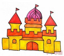 漂亮城堡的画法步骤涂色 城堡简笔画图片