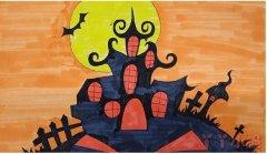怎么画万圣节城堡简笔画教程涂颜色简单