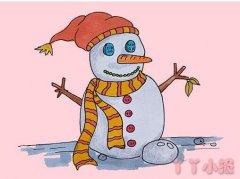 怎么绘画雪人简笔画步骤教程涂颜色简单