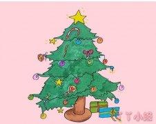 怎么绘画漂亮的圣诞树简笔画步骤带颜色