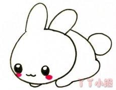 趴地上小白兔简笔画怎么画简单又可爱