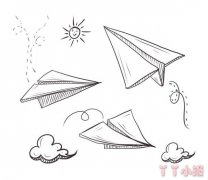 纸飞机怎么画简单又漂亮 纸飞机儿童简笔画