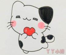 爱心小猫咪怎么画带步骤涂色简单又可爱