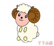 卡通小绵羊怎么画涂色带步骤简单又可爱