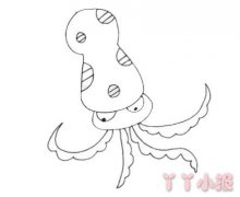 卡通章鱼的画法步骤图 章鱼简笔画图片