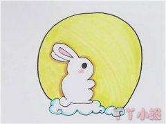 中秋玉兔的画法步骤涂色 玉兔简笔画图片