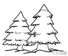 松树的画法两颗松树简笔画图片怎么画