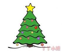 圣诞树的画法步骤教程简单又漂亮涂色