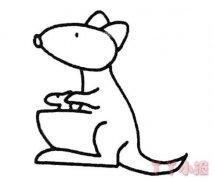 怎么画袋鼠简笔画画法教程简单好看