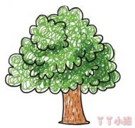 手绘大树简笔画怎么画彩色简单又漂亮