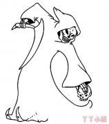 万圣节幽灵幽魂简笔画怎么画教程简单
