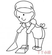 做家务扫地妈妈怎么画简单 妈妈简笔画