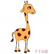 卡通长颈鹿怎么画涂色简单 长颈鹿简笔画