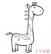 卡通长颈鹿的画法涂色长颈鹿怎么画简单