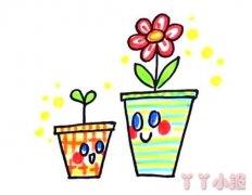 两盆小花的画法步骤教程涂色简单又漂亮