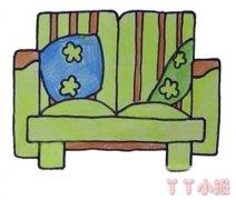 沙发简笔画的画法步骤教程涂色简单好看