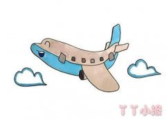 卡通飞机简笔画涂色带步骤图简单漂亮