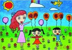 庆祝教师节快乐儿童简笔画图片彩色作品