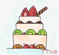 草莓生日蛋糕简笔画涂色带步骤简单又漂亮