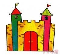 城堡简笔画涂色简单又漂亮带步骤教程