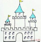 城堡的画法步骤简单又漂亮涂色 城堡简笔画