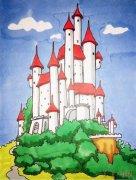 城堡简笔画步骤教程涂色简单又漂亮