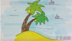 海滩椰子树简笔画涂色简单又漂亮带步骤